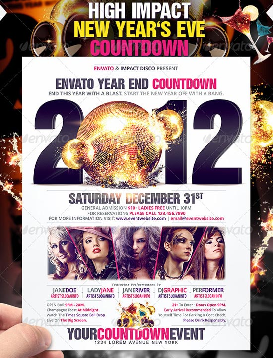 High Impact New Year's Eve countdown Flyer/Poster Template