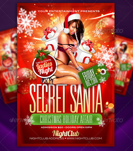 Secret Santa Party Flyer Template