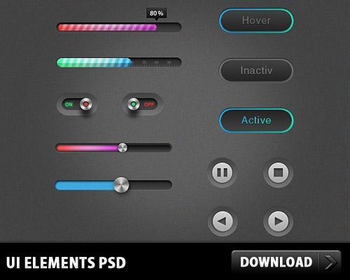 56pixels.com » 13 PSD UI Elements Sliders Buttons Set
