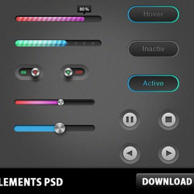 13-PSD-UI-Elements-Sliders-Buttons-Set
