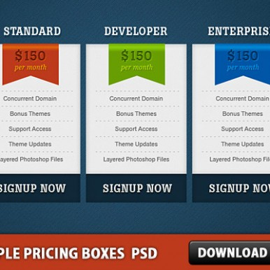 3-Clean-Web-2.0-Pricing-Boxes