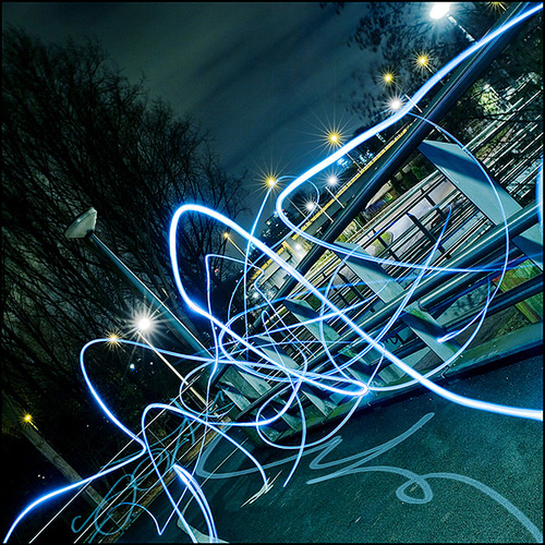 City lights long exposure photography