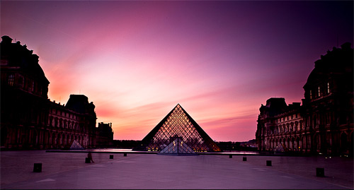 sunset on the louvre long exposure photography