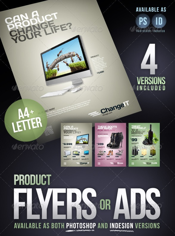 product flyers / ads · a4 + letter