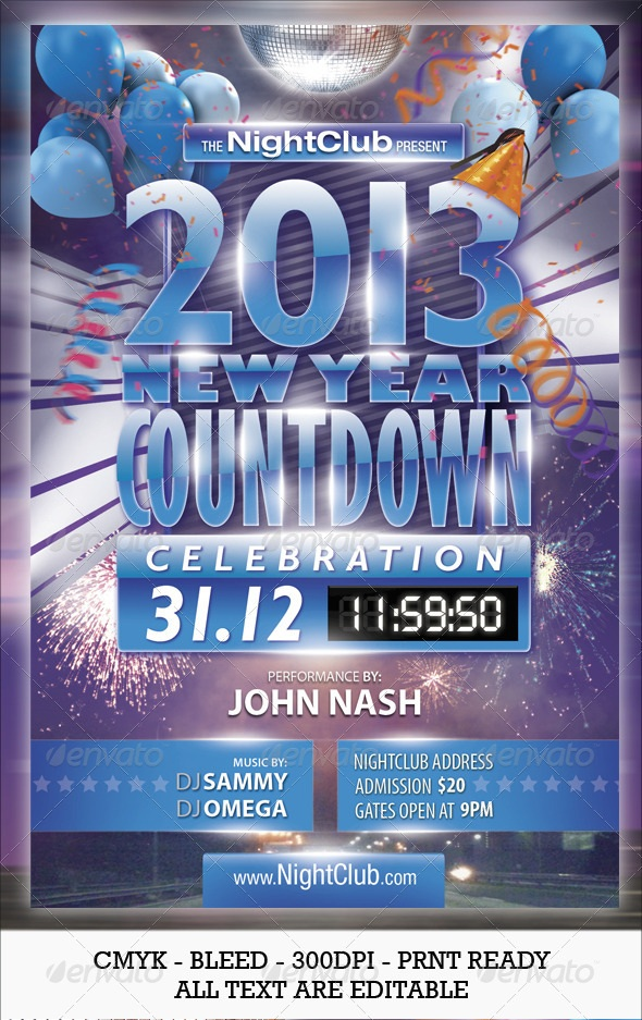 2013 New Year Countdown Party Flyer