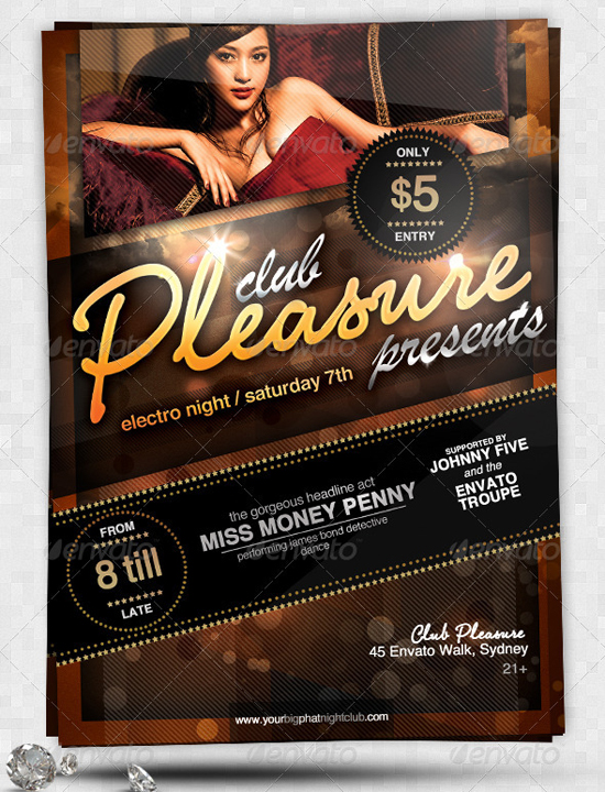 pleasure sexy glamorous a5 nightclub flyer template