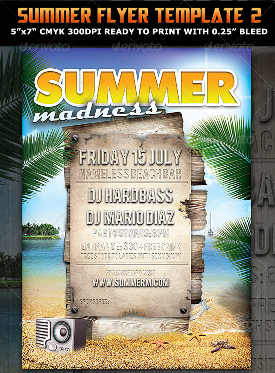 Top 50 summer beach party flyer templates 56pixels summer madness party flyer template saigontimesfo