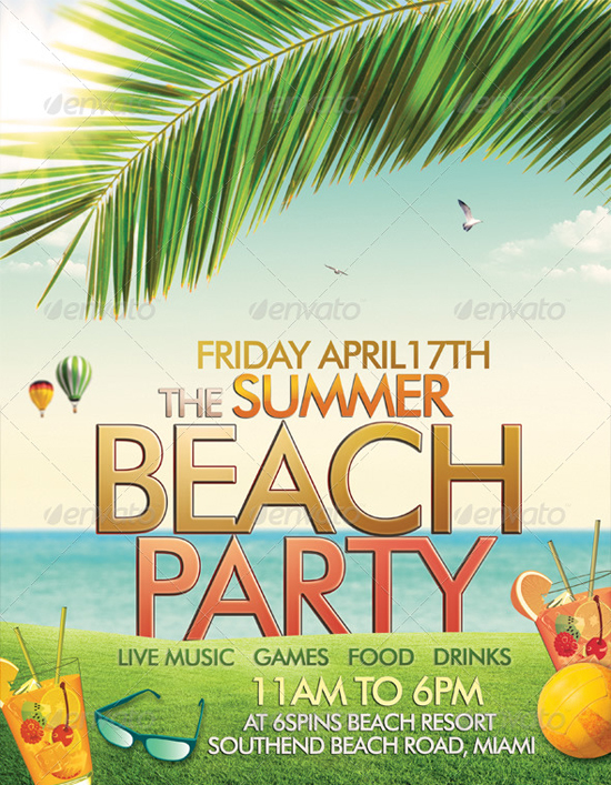 Beach or Summer Party Flyer Template