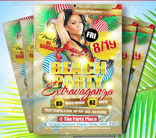 Beach Party Extravaganza Flyer Template