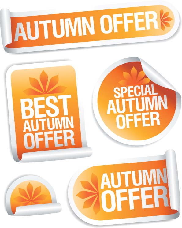 5 Autumn Curled Vector Stickers