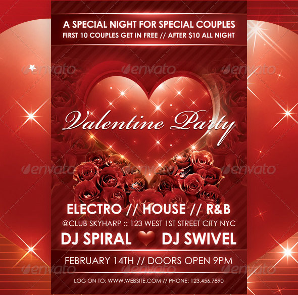 Love Sparks Valentines Party Flyer Template
