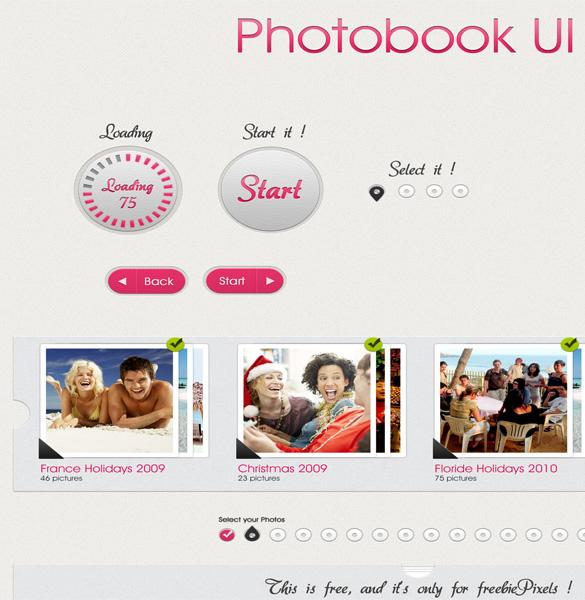 Cool Photobook UI Design PSD