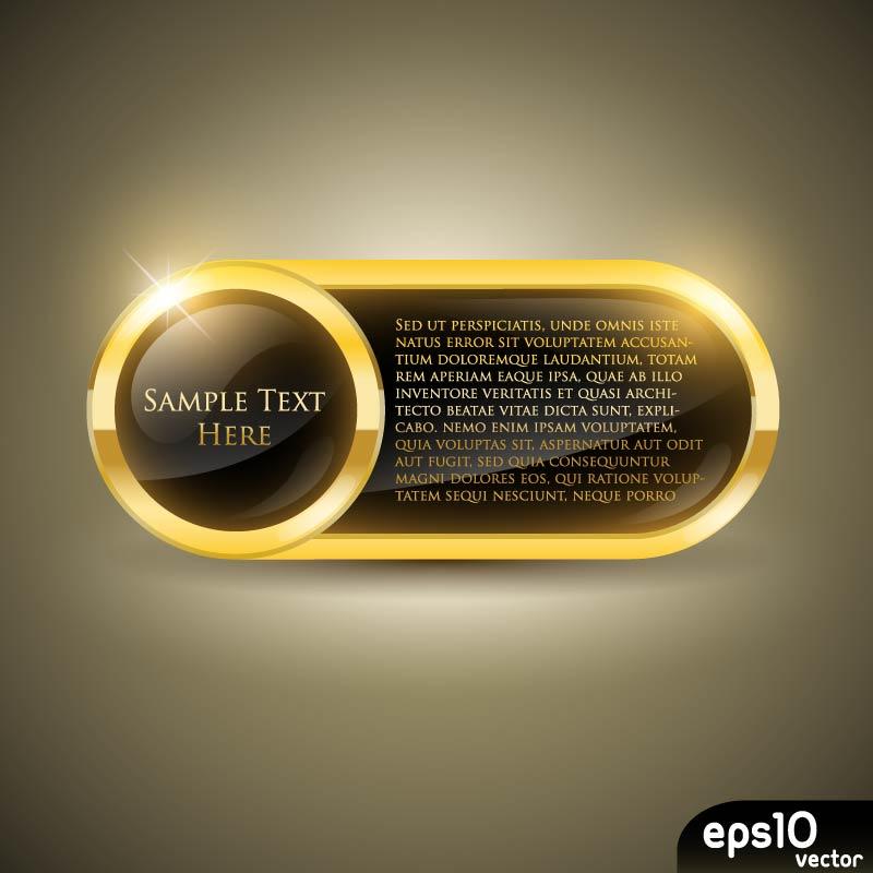 Glossy Gold Oblong Vector Frame
