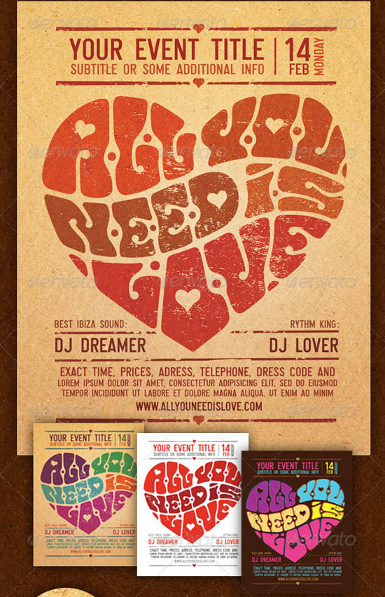 All you need is love flyer template