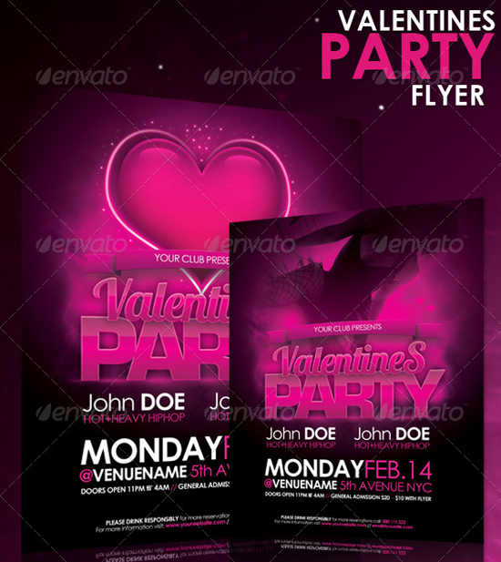 Valentines Party Flyer Template