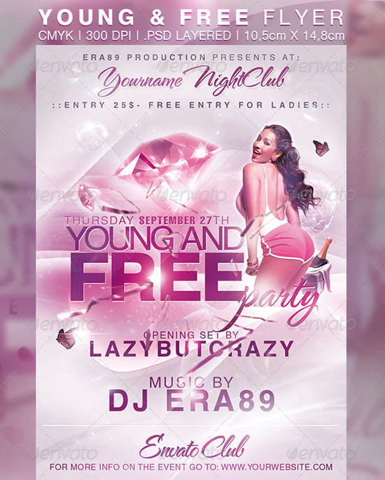 Young Free Sexy Nightclub Party Flyer Template