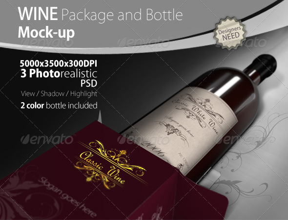 Wine Package and Bottle Mock-up