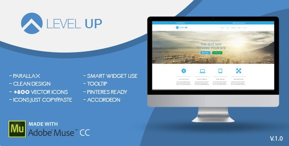 level up | one page muse template - adobe muse templates & themes