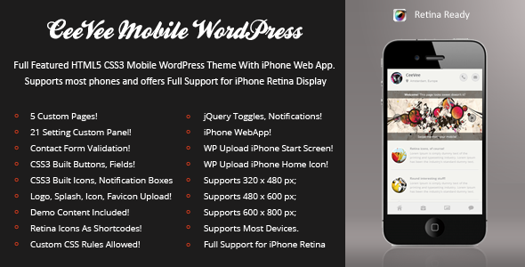 CeeVee Mobile Retina | WordPress Version