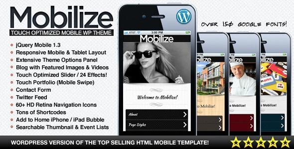 Mobilize - jQuery Mobile WordPress Theme