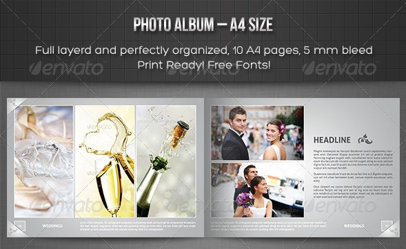 Photo Album – A4 Landscape Template