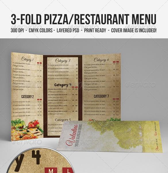 3 fold pizzarestaurant menu