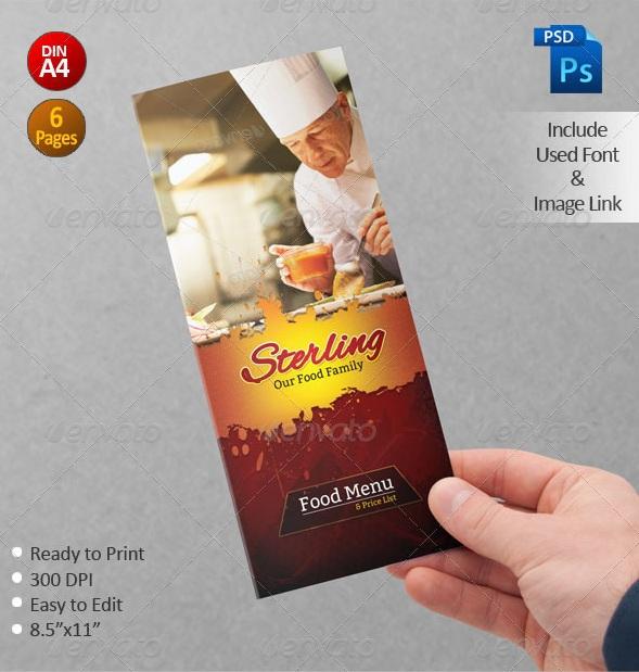 Creative Restaurent Tri-Fold Food Menu Design