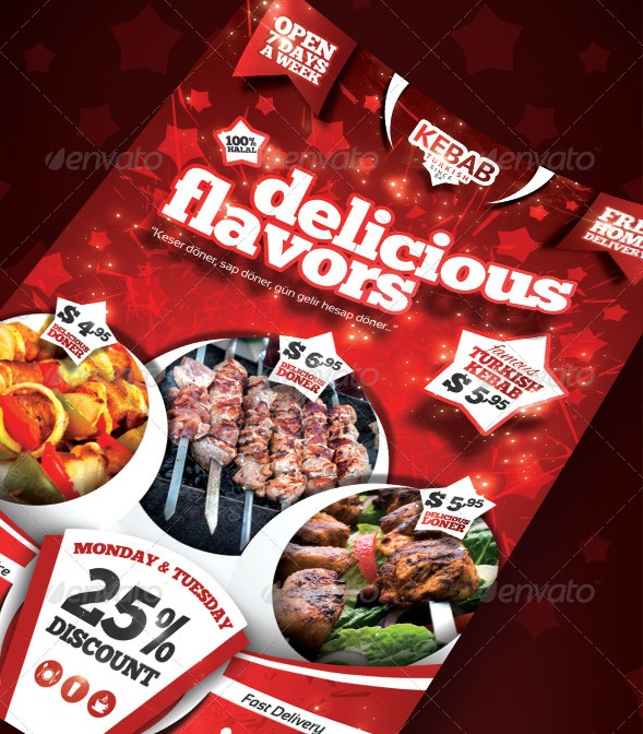 Kebab Menu Flyer - PSD Template