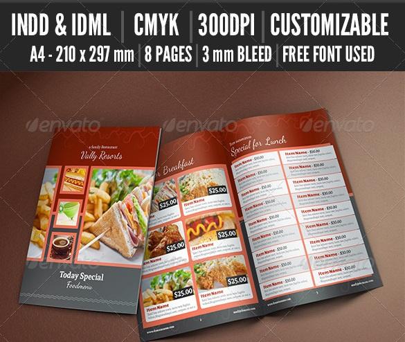 Restaurant Bi-Fold Food Menu V2