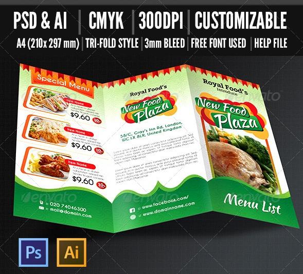Restaurant Tri-fold Food Menu - V1
