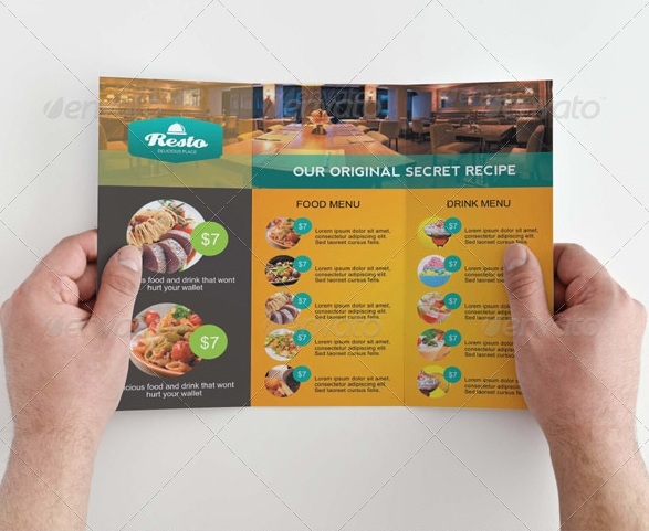 Restaurant and Food Menu Trifold Brochure
