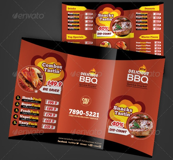 Free And Premium Food And Restaurant Menu Brochure Pixelscom - Food brochure templates