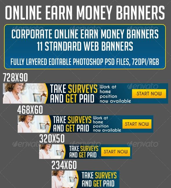 MAKE MONEY ONLINE BANNER SET