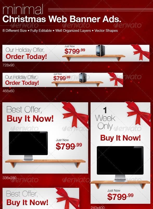 Minimal Christmas Web Banner Ads