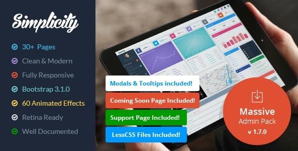 simplicity - responsive massive admin pack