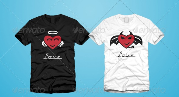 Devil and Angel Hearts Valentine T-Shirt