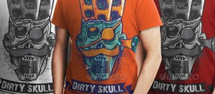 Dirty_Skull_Music_System_T_shirt_Design