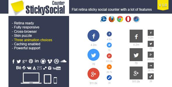 stickysocial - wp retina social counter plugin