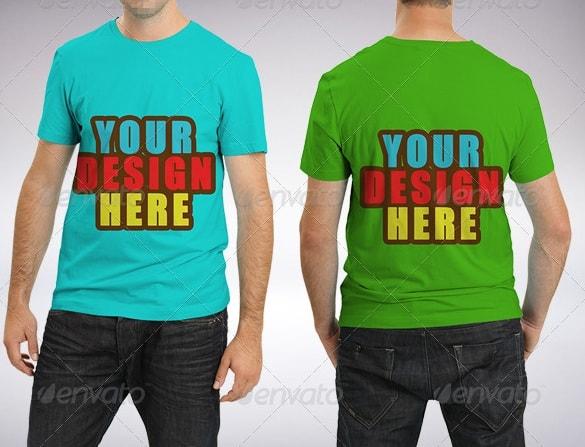 back & front male t-shirt mock-up bundle - apparel mockups