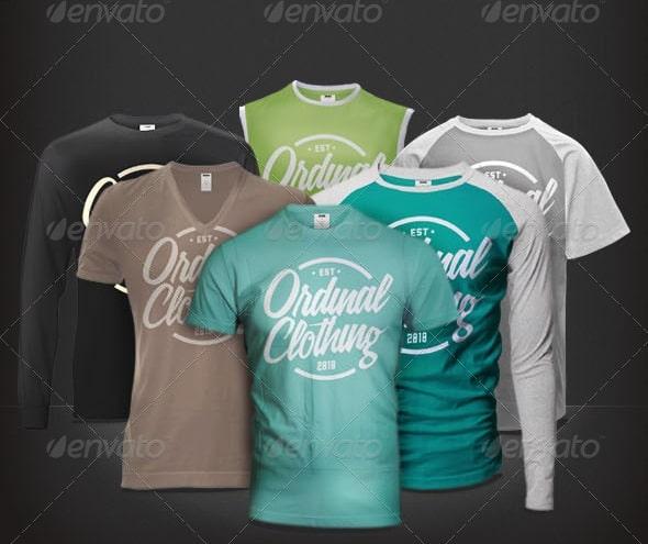 men t-shirt mock-ups set - apparel mockups