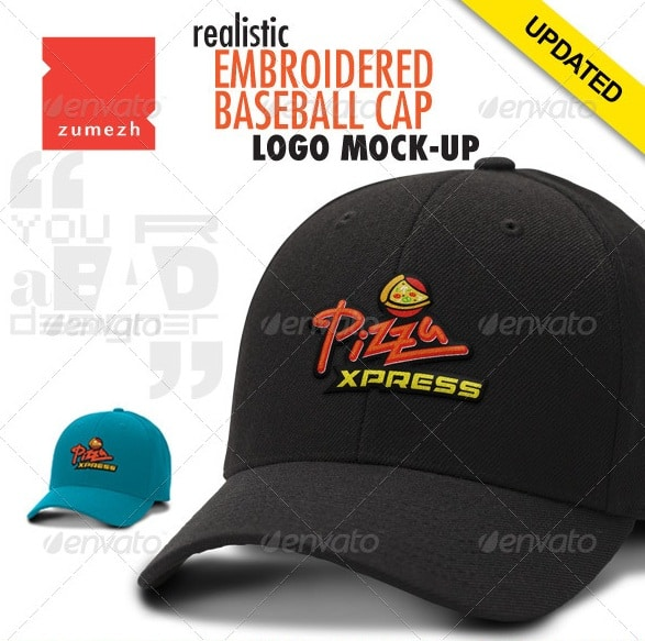 polo cap mock-up with embroidered logo