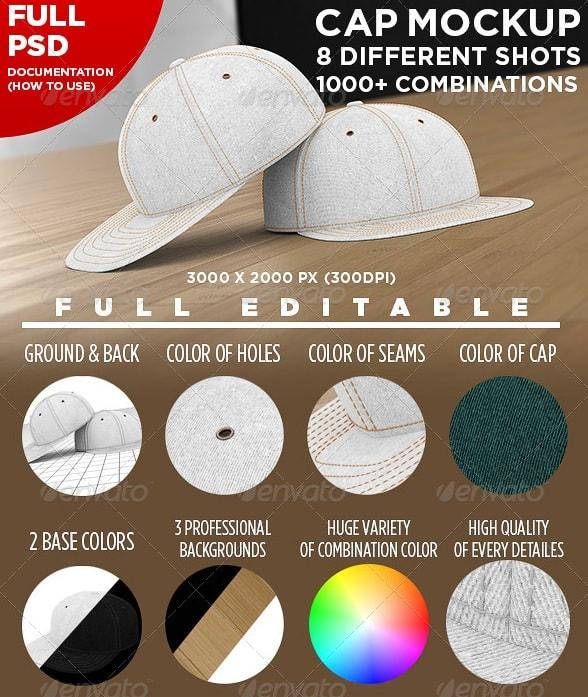 professional baseball cap mock-up - apparel mockups