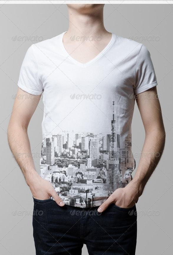 t-shirt mock-up / v-neck male model edition - apparel mockups