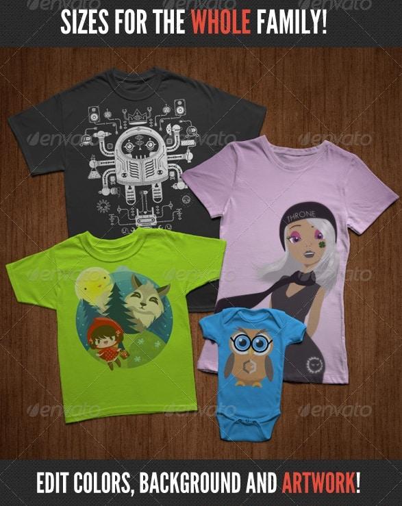t-shirt mock-ups - family pack - apparel mockups