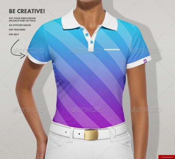women polo shirt mock-up - apparel mockups
