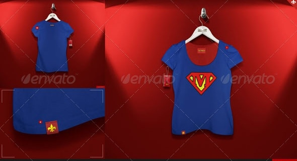 women's t-shirt 5 scenes mock-up - apparel mockups