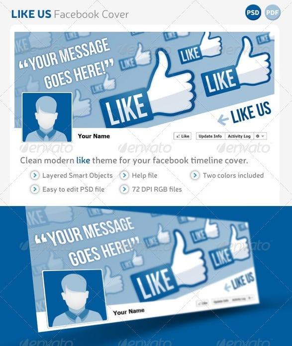 Facebook timeline cover templates free premium for Like us on facebook sticker template
