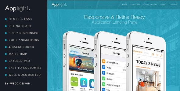 applight - responsive one page scroll app theme