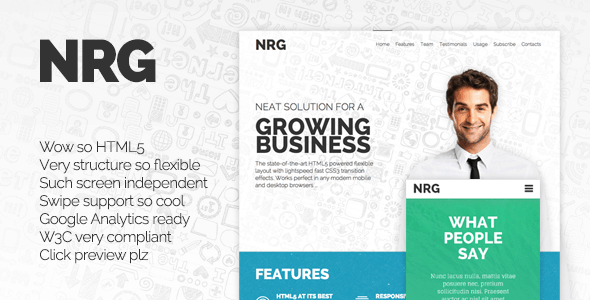 Awesome landing page templates 56pixels nrg responsive landing page flashek Image collections