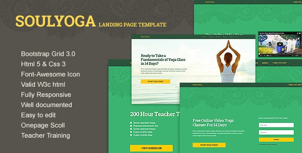 yoga landing page template